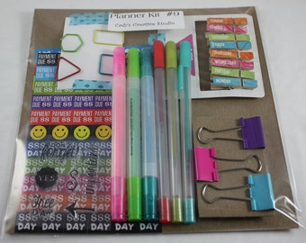 Planner Accessories Kit Stamps Stickers Calendar Clips Binder Clips Highlighters Gel Pens Shaped Paper Clips New Listing Kit#9