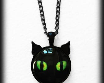 Black Cat Necklace with Ears, Green Cats' Eyes, Gothic Witch Glass Cameo Pendant Jewelry, Halloween Wicca Pagan