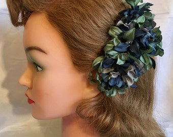Handmade hair flower clip - mixed colour flower, Deep Teal/Dove Grey/Verdigris Agapanthus  - 40s style vintage style, blue hair flower, gree