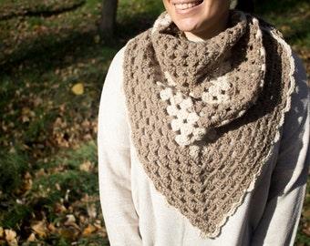 Shawl triangular scarf crochet alpaca wool