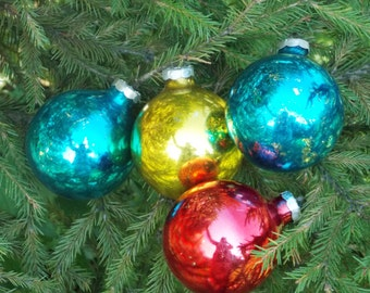 Gifts for Christmas ornaments vintage set of ornaments gold Ornament hand painted ornament turquoise ornaments rarest Christmas decorations