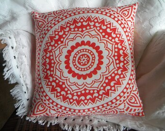 "Pillow cover. 14"" x 14"" pillow cover. Home decor. Vintage. Vintage tablecloth. Vintage linens. One-of-a-Kind. Boho. Mandala. Funky. Unique."