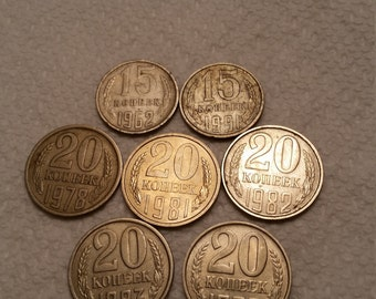 7 russia vintage coins 1962 - 1991  / 15 & 20 kopeks coin lot - world foreign russian collector obsolete money numismatic a2