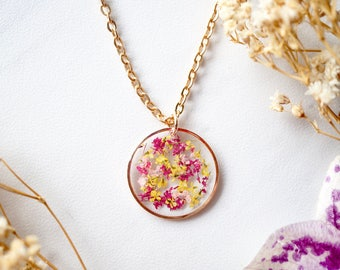 Real Dried Flowers in Resin Necklace, Rose Gold Circle in Magenta Pink Yellow
