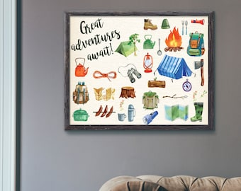 Great Adventures Await Camping Tools Outdoor Adventure Watercolour Wall Art Print