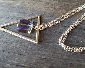Silver-Toned Geometric and Crystal Pendant Necklace