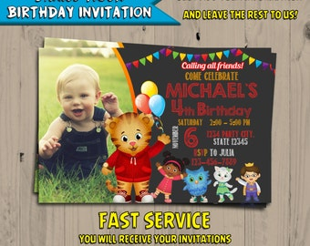 Daniel Tiger Invitation Chalkboard - Daniel Tiger Birthday - Daniel Tiger Invite - Party Favors - Digital - Printable - Personalized