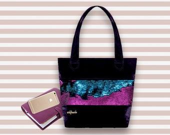 Sequin Tote Bag | Pink and Blue Sequin Bag | Chameleon Sequin Tote Bag | Reversible Sequin Bag | Denim Sequin Bag