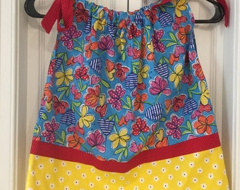 Blue,  Yellow and Red Pillowcase Dress Handmade 2 Toddler, Pillowcase Toddler Dress, 2 Toddler Clothes Pilllowcase Dress