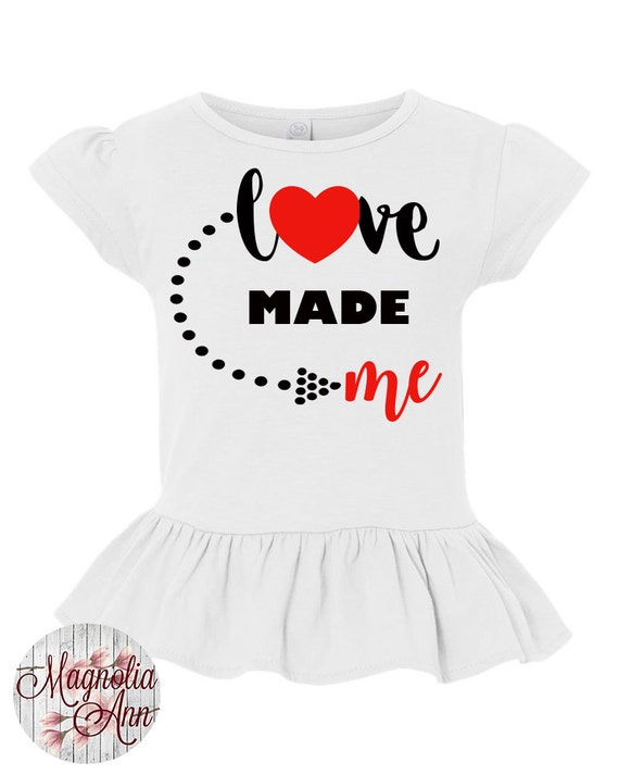 Love Made Me, Heart, Arrow, Valentines Day, Toddler, Little Girls Ruffle Tee in 4 Colors in Sizes 2T-Girls Large