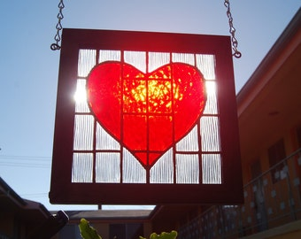 Heart Stained Glass Panel Framed 9 1/4inch Square Romantic Valentine's Gift