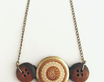 Recycled Button Vintage Style Brown White Gold Bronze Necklace