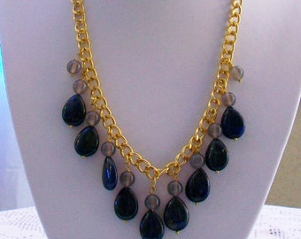 Necklace and earrings with Lapis grey Tourmaline Teardrop