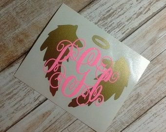 Angel Decal/Wings Decal/Vinyl Decal/ Angel Wing/Monogram/Yeti Cup Decal/Divine Decal/Messenger Of God Decal/Heavenly Messenger/HTV Decal