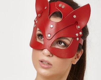 Chat masque, masque de femme, masque de chaton, accessoire élégant, masque d'Halloween, objet érotique, accessoire de sexe