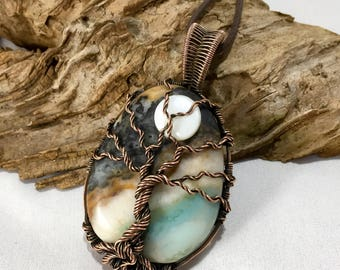 Tree of Life Pendant, Wire Wrapped Jewelry, Copper Pendant, Tree Pendant, Tree Necklace, Tree of Life Necklace, Tree and Moon Pendant,