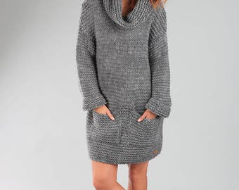 Alpaca sweater / Oversized sweater / Knitted wool sweater / Knitted wrap / Wool sweater / Long sweater / Grey sweater/ Chunky sweater