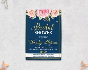 Navy Gold Bridal Invitation, Bridal Shower Invites, Brunch and Bubbly, Elegant, Miss to Mrs, Navy Blue, Blush Pink, NG Digital Printable 5x7