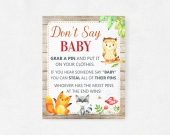 Woodland Dont Say Baby Game, Woodland Themed Baby Shower, Don't Say Baby Sign, Forest Animals, Gender Neutral Boy Girl WD Printable Download
