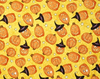 BTHY - Happy Halloween by Julie Dobson Miner for Northcott, #21190-52 Tossed Orange Pumpkins with Witches Hats on a White Dotted Yellow, by