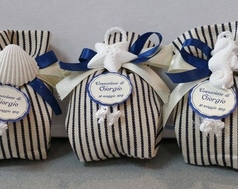 Blue striped christening communion favor bag with bow chalks ocean theme + personalized