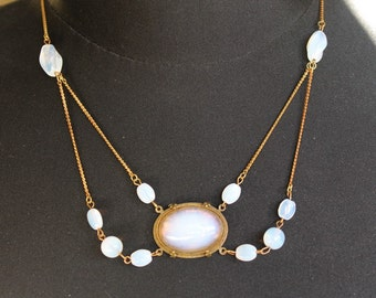 White opal necklace, Art Deco, glass opal, white opal beads, brass chain, vintage assemblage, handmade in France, chez Sylvie/068