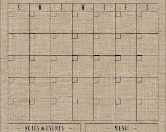 Dry-Erase Calendar, Burlap Design , 18x24 Custom Dry Erase Burlap Calendar, Reusable Framed Calendar