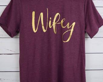 Wifey Heather Maroon Shirt, Bride Shirt, Wifey shirt, Bride-to-Be