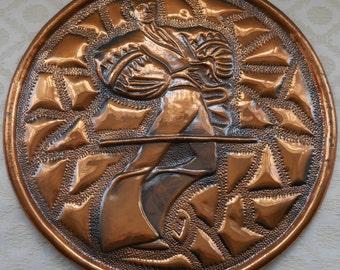 Large Copper Plate, Hand Beaten, Lera Copper, Copper Wall Art, Copper Home Decor, Copper Charger, Copper Art, Vintage Copper, Male Dancer
