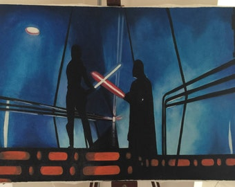 Now, release your anger - Darth Vader and Luke Skywalker (oil on canvas painting)