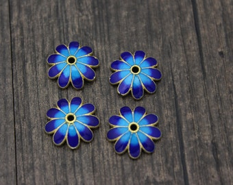 2- 14mm Sterling Silver flower bead caps,gold plated cloisonne blue flower bead cap, Blue Enamel Bead Cap