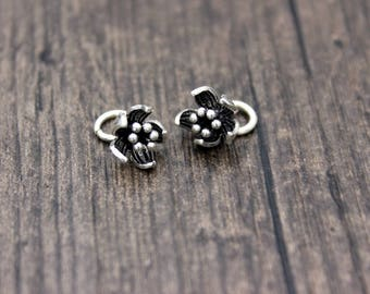 2 sterling silver flower charm, flower pendant,silver flower charm,DIY Findings for Bracelet and Necklace