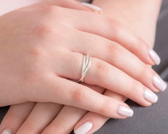 Eternity Ring, Trio ring, Stacking Ring, Sterling Silver Ring.