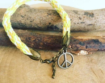 """Peace 100% cotton"" Kumihimo bracelet"