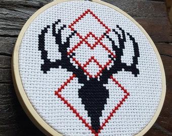 Stag Skull Cross Stitch PDF Pattern / Geometric / Minimalist