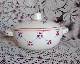 "Tureen ""Normandy"" BADONVILLER - FRANCE, 40's. Cream, red, blue."
