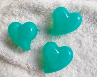 Blue Heart Soap, Set of 6, Mini Heart, Glycerin, Guest Soaps, Choose Your Scent, Party Favor, Bridal Shower, Gift for Her
