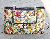 Handbag using candy wrappers, Free shipping, Eco friendly bag, Large handbag, Recycled bag, vegan tote bag, upcycling by milo, naveh milo