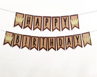 Where The Wild Things Are Birthday Party Theme Banner / Boy First Birthday / Happy Birthday Wild One