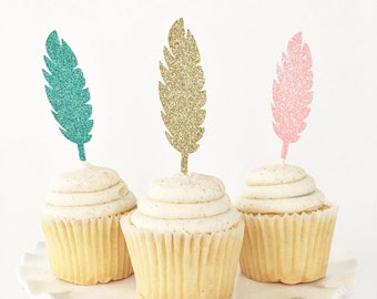 Feather Cupcake Toppers / Tribal Cupcake Toppers / Boho Party Decorations / Wild One Birthday / Two Wild / Wild and Three