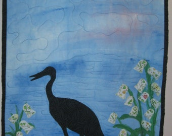 Heron Quilted wall hanging