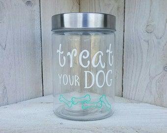 Treat Your Dog Treat Jar- Dog Treat Jar- Treat Container