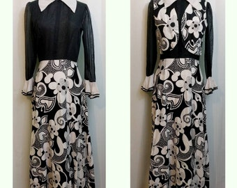 Black and White Mod Floral 60s Maxi Dress with Vest