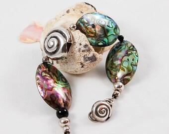 Paua Shell Bracelet, Fine Silver Bracelet,Hill tribes silver Bracelet, statement Bracelet, Abalone and Silver Bracelet, Chunky Bracelet