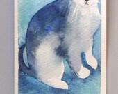 Bookmark original watercolor painting /  Cat / Weissenberger Christine