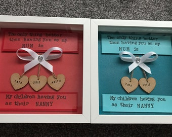 nanny gift, nan frame, special nan gift, mothers day, personalised frame, unique mum/nan gift, special nanny, nan birthday