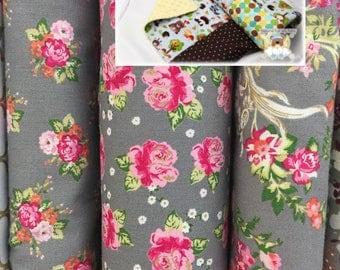Girl Patchwork Blanket Gray Pink Fuchsia Bedding Nursery Blanket Handmade Blanket Cotton Minky Baby Toddler Crib Bedding Lap Blanket