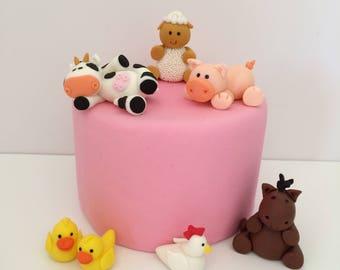 Farm Animals Fondant Cake Topper