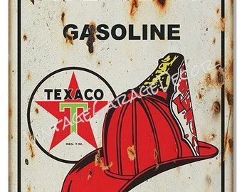 Reproduction Texaco Fire Chief Gasoline Metal Sign (Rusted)
