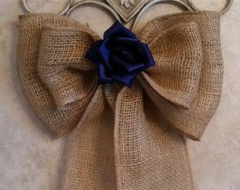 Burlap Bow Wedding Pew Bow Burlap Wedding Rustic Wedding Chair Bow Wreath Bow Aisle Decoration Burlap Lace Bow